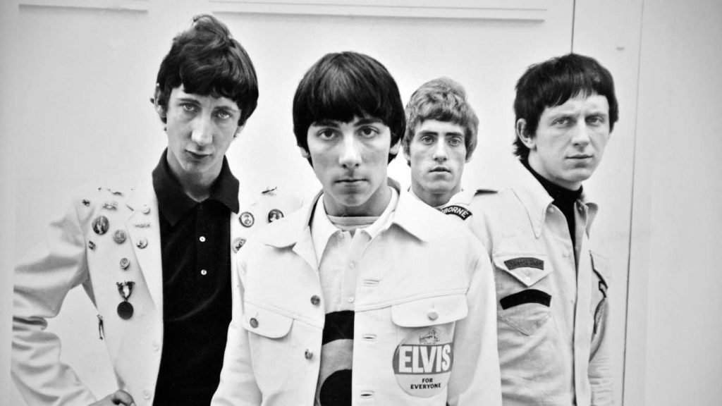 The Who pose for a group portrait, London, 1965. L-R Pete Townshend, Keith Moon, Roger Daltrey and John Entwistle. (Photo by The Visualeyes Archive/Redferns)